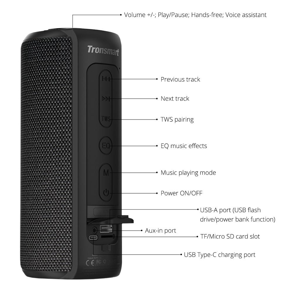 Tronsmart T6 Plus – IPX6 hordozható bluetooth hangszóró